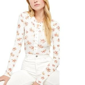 Free People One of the Girls Floral Thermal Henley